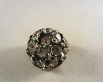 Vintage Button -  lot of 1 beautiful, 7/8 inch unique design, rhinestone embellished antique silver metal, (45)