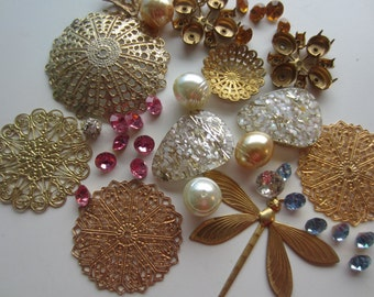 Vintage Shabby Chic lot of metal findings, filigree, rhinestones, beads for repurpose, lot of 2.50 ounces  (dec 522)
