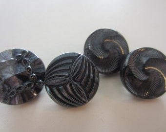 Vintage buttons, 4 black glass, silver luster hand painted hand painted (2 matching)-3 designs (mar 252)