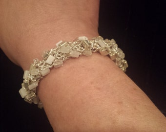 Bracelet Beaded Bangle Silver, White, Clear Square Beads Silver Metallic Gift for Her by hipknitta