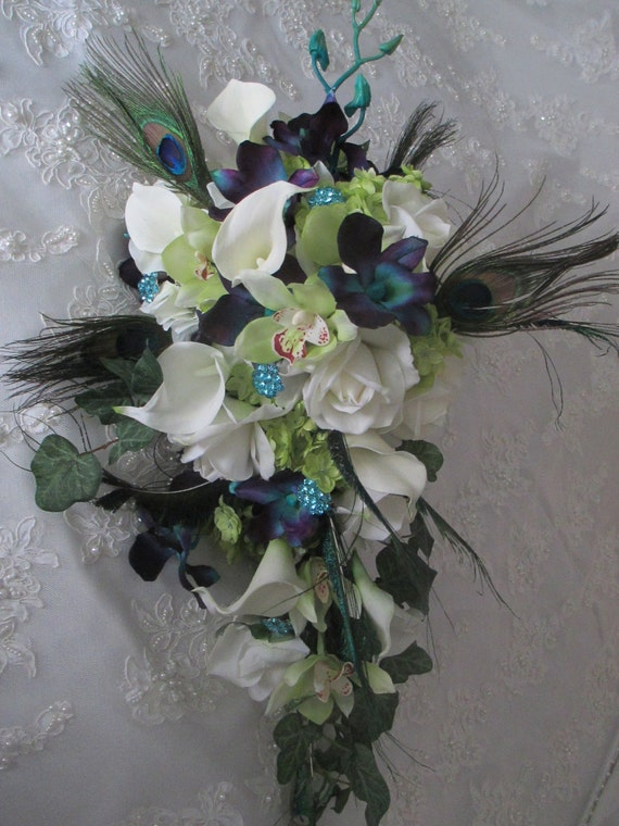 Reserved Listing for......k8Emae3......Cream/white Roses Calla lilies  Dendrobium Orchids Peacock Feathers Wrapped Teal Bridal Bouquet Set