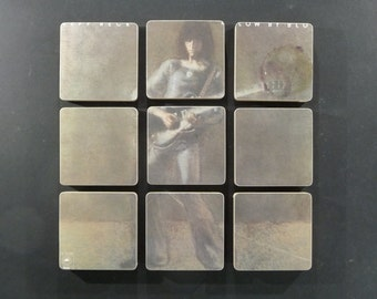 Jeff Beck recycled Blow by Blow album cover wood coasters and vinyl record bowl