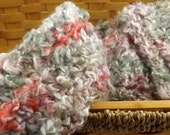 Kid Size Country Garden multicolor fluffy boucle crocheted scarf