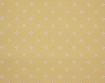 1940s Vintage Wallpaper Small White Geometric on Yellow Lace Design by the Yard--Made in England