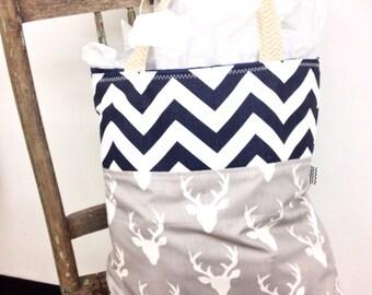 Tote bag, tote, navy chevron tote, deer tote, rustic tote, chevron bag, chevron purse, summer tote, beach bag, large tote, shopping tote