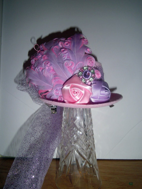 Mini Top Hat, Fascinator, Handmade, Birthday Party Hat, Halloween Costume. Alice in Wonderland Tea Party, Costume, Photo Prop
