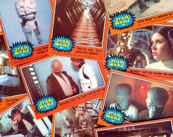 vintage Star Wars TOPPS trading cards - Star Wars IV A New Hope - authentic Star Wars collectible - Orange Border 1977