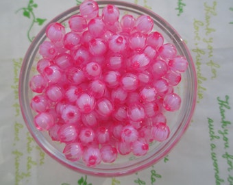 Acrylic round beads 50pcs 8mm Carnival bead in bead transparent Pink