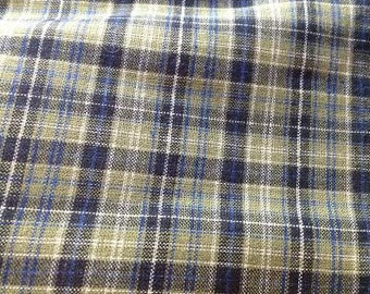 Green and Blue Plaid Homespun Fabric
