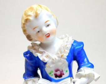 50's figurine, Reading girl with book, china doll made in Japan.