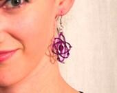 Purple Shiny Atom Big Bang Theory Science Lasercut Earrings, Shiny Jewelry, Teacher Molecule Geeky Gift