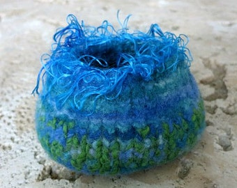 Felted Bowl - Felted Vessel - Hand Knit - Hand Felted - Blues, Greens - Blue Apatite Crystal