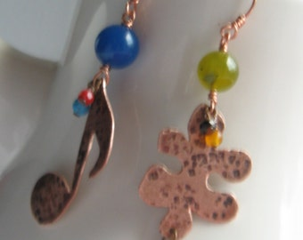 Puzzle Piece Musical Note Hammered Copper Earrings