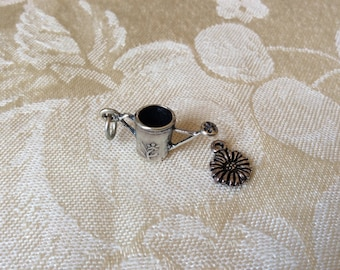 Sterling Silver Charms - Watering Can Daisy - Garden Jewelry