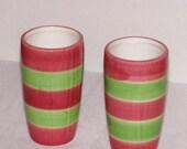 "Lot of 2 6"" H pink and green ceramic vase Wedding Table Centerpiece wedding vase wedding arrangement wedding supplies round colored vases"