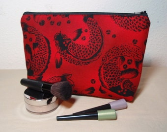 Red Koi - Large Padded Cotton Cosmetic Bag Zipper Pouch Inside Pocket