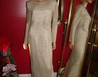 Vintage Dress Flapper Art Deco L/Tan Lace does 20-30s Evening  Size 6P