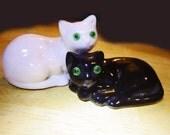 Vintage Ceramic Cat Pair, Black and White cats