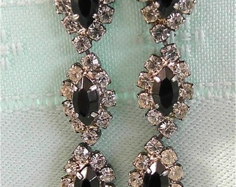 ON SALE was 18.99 Vintage Black and Diamond Crystal Earrings