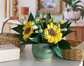 Sunflower Bouquet Flowers Yellow Green 1:12 Dollhouse Miniature Scale Artisan