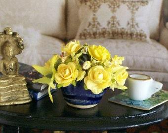 Yellow Roses Blue Basket Floral Arrangement Pottery 1:12 Dollhouse Miniature