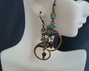 Bird Of Paradise Earrings, Drop and Dangle Style, Great Vintage Look, Hand Wrapped Aqua Glass Beads, Unique and Custom, Great For Gift