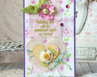 SALE Gifts Of Spring Shabby Chic Handmade card
