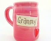 Grammy Handmade Pottery Mug Grammy Pink Tall Mug by Jewel Pottery