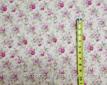 Rose Hill Lane Rose Flowers Floral on Lt Tan Lattice BY YARDS RJR Cotton Fabric