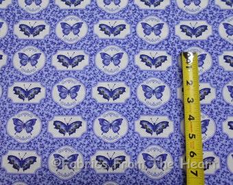 Botanical Blues Garden Butterflies in Frames BY YARDS Northcott Cotton Fabric