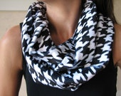 Classic Black and White Houndstooth LUXE Infinity Scarf