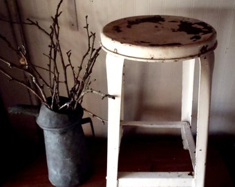 Vintage Industrial Medical Enamel White Stool with Curved Legs