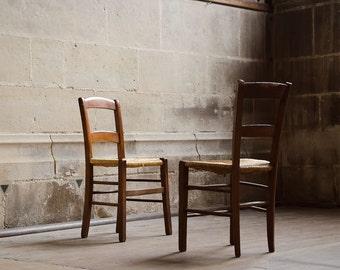 "Paris Print, ""Brown Church Chairs"" Extra Large Wall Art, Paris Photography Large Art Print, Oversized Art, Paris Decor"