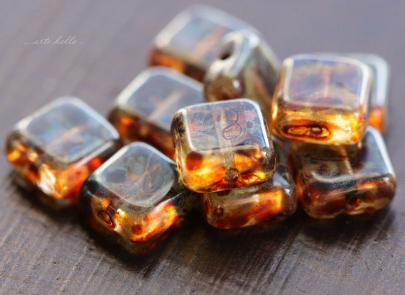 last ones .. TOFFEE No. 2 .. 9 Premium Czech Picasso Glass Square Beads 8.5mm (1246-9)