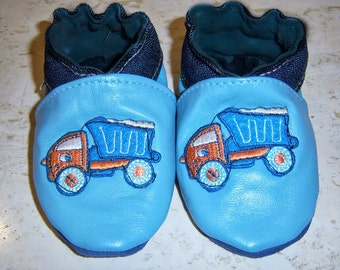 handmade TODDLER shoes baby blue, light blue leather booties .dump truck ,boy leather shoes, toddler leather shoe