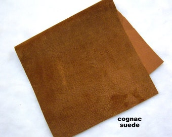 cognac brown suede piece remnant crafts suede scrapbooking jewelery doll making purse