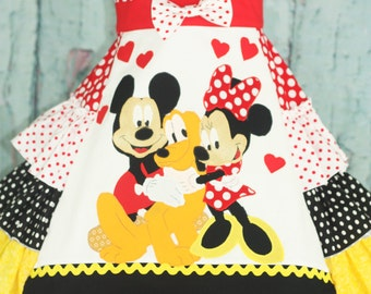 Mickey Minnie Pluto Custom Disney Dress Sizes 3 4 5 6 7 8 9 10