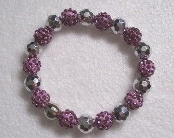 Lilac/Silver  Disco Bead Chunky Stretch Bracelet