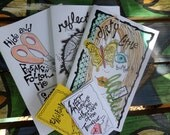 Hippie words and art Zines, The Collection, true stories, diary pages, art, ramblings