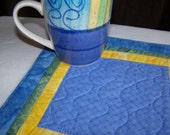 Blue and Yellow Mug Rug Coaster or Mini Quilt and Matching Mug