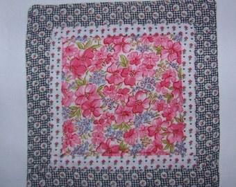 Vintage Fabrics Quilted Coaster Mug Rug or Mini Quilt