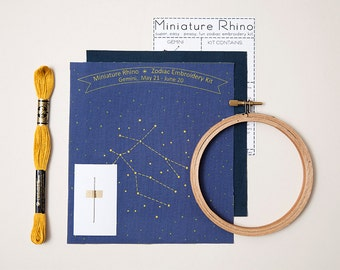 Gemini Zodiac Embroidery Kit - diy constellation embroidery kit