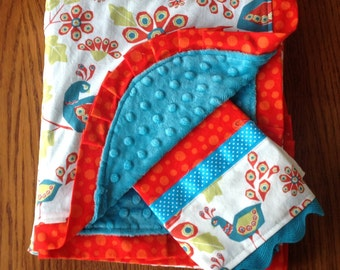 On Sale...Organic Cotton Peacock Minky Receiving Blanket and Burp Cloth Set- Ready to ship