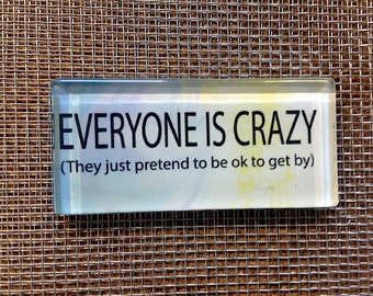 Everyone is crazy, they just pretend to be ok to get by...glass magnet