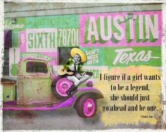 Digital Art Print, Art Print, Collage Print, Vintage Image, Collage Art, Cowgirl, Austin, Texas