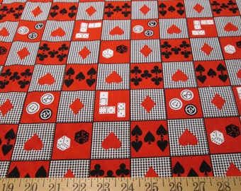 "Shamash and Sons Casino Classics Cotton Fabric, Red, Black, White, 44"" Wide, By the Yard"
