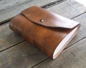 Medium Leather Sketchbook With Snap Closure, Blank Hand Dyed Brown Distressed Leather Journal, Leather Wedding Guest Book, Art Journal