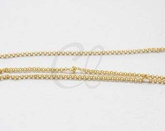 3 Feet Premium Matte Gold Plated Brass Base Chains-Rolo 1.5mm