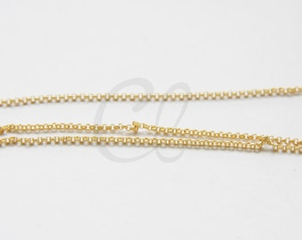 3 Feet Premium Matte Gold Plated Brass Base Chain-Rolo 1.5mm (BL1.5)