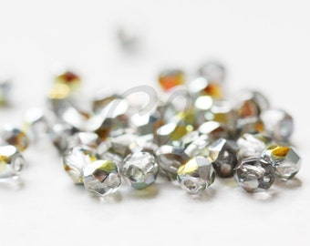 50pcs Czech Fire Polish Glass Faceted Round-Crystal Marea 3mm (328001)